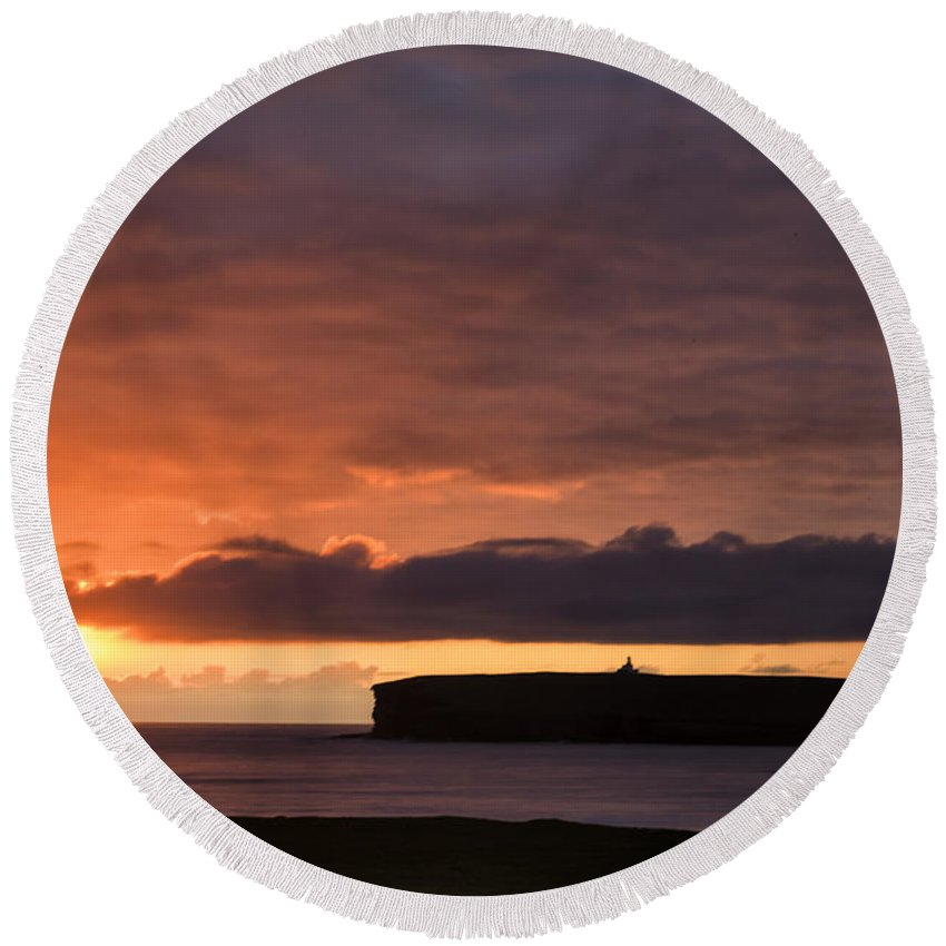 Sunset Round Beach Towel featuring the photograph Brough Of Birsay Sunset by Fran Gallogly