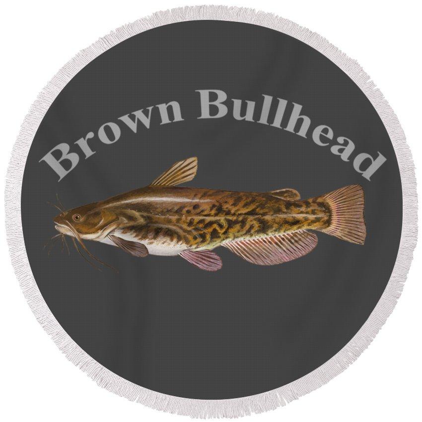 Brown Bullhead Round Beach Towel featuring the digital art Brown Bullhead by T Shirts R Us -