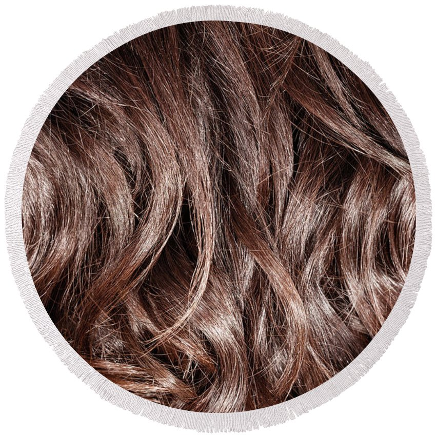 Backdrop Round Beach Towel featuring the photograph Brown Curly Hair Background by Anna Om