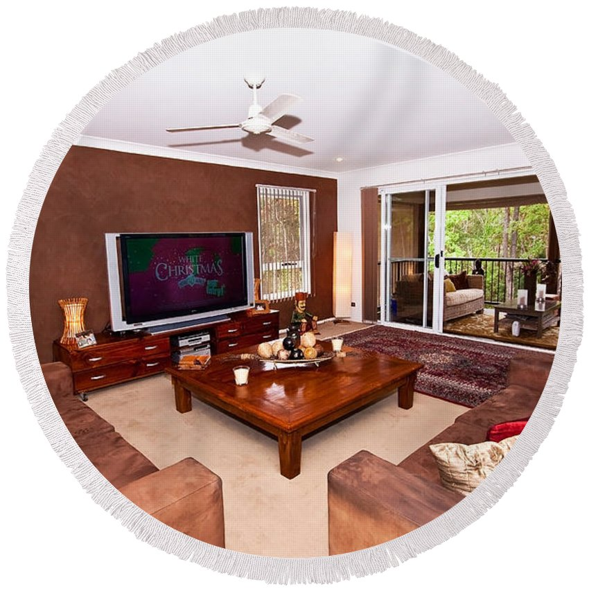 Brown Round Beach Towel featuring the photograph Brown Living Room by Darren Burton
