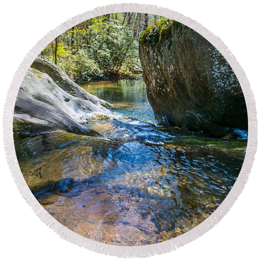 Spring Round Beach Towel featuring the photograph Brown Mountain Forest by Paula OMalley