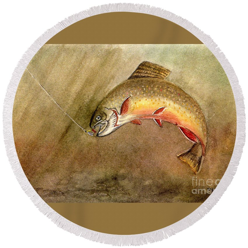 Trout Round Beach Towel featuring the painting Brown Trout by Mary Tuomi