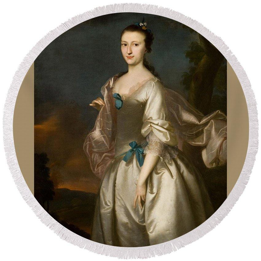 Elizabeth Browne Rogers Round Beach Towel featuring the painting Browne Rogers by Joseph Blackburn