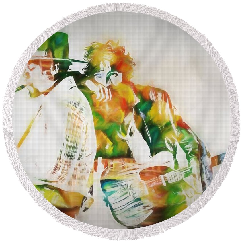 Bruce And The Big Man Round Beach Towel featuring the painting Bruce And The Big Man by Dan Sproul