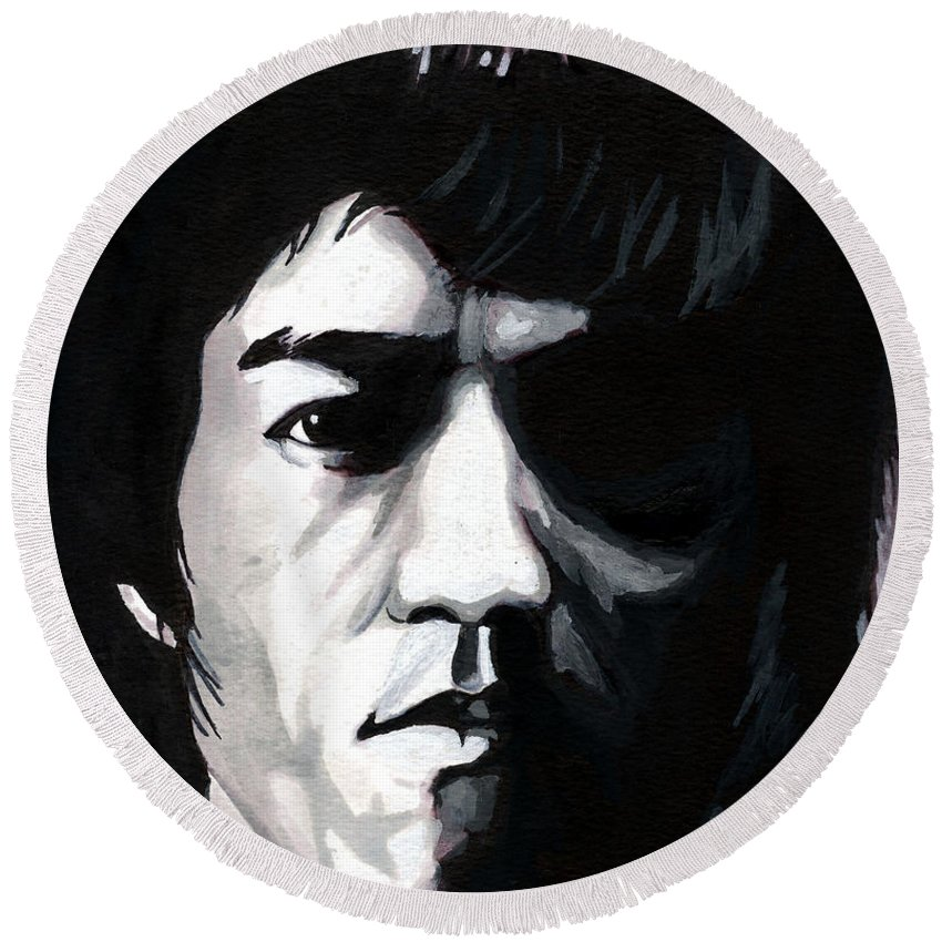 Bruce Lee Round Beach Towel featuring the mixed media Bruce Lee Portrait by Alban Dizdari