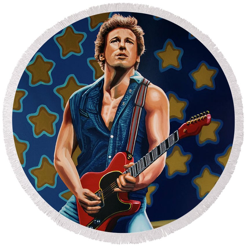 Bruce Springsteen Round Beach Towel featuring the painting Bruce Springsteen The Boss Painting by Paul Meijering