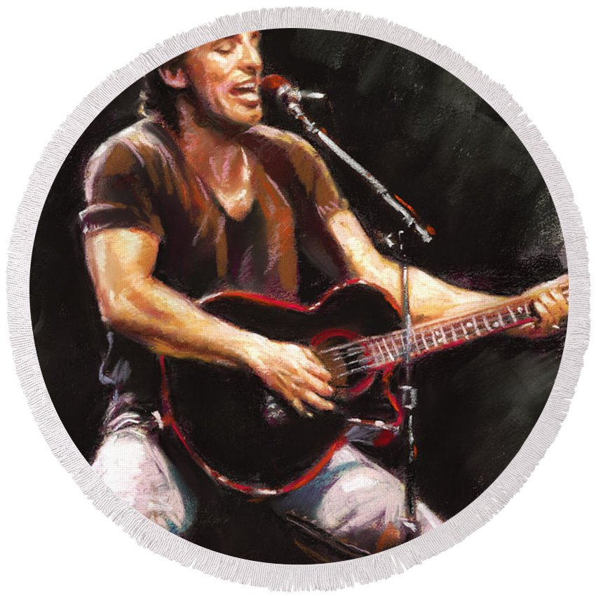Bruce Springsteen Round Beach Towel featuring the pastel Bruce Springsteen by Ylli Haruni