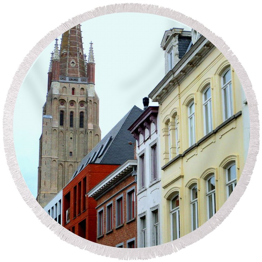 Bruges Round Beach Towel featuring the photograph Bruges 3 by Randall Weidner