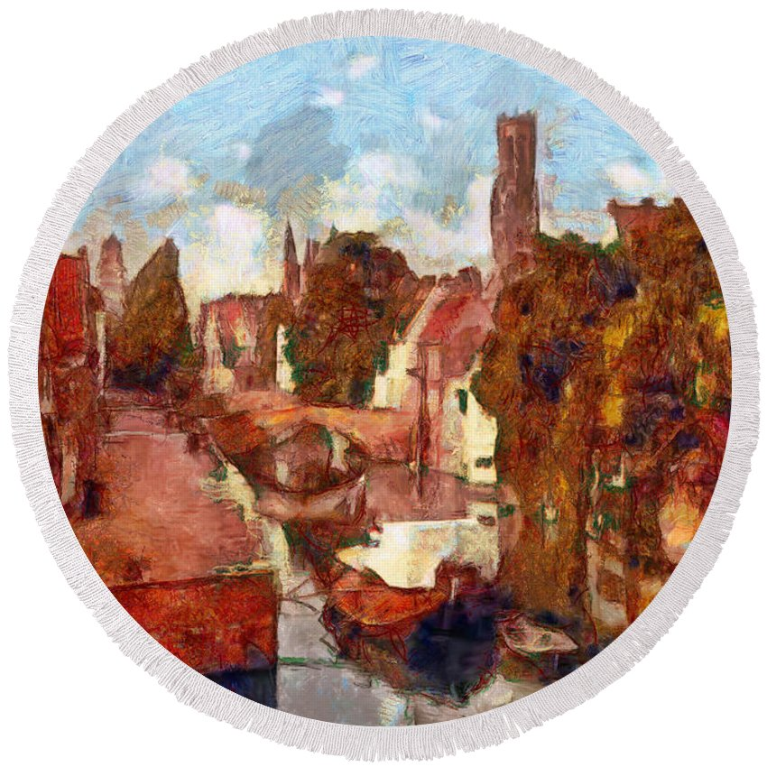 Bruges Round Beach Towel featuring the painting Bruges Canal View by Mario Carini