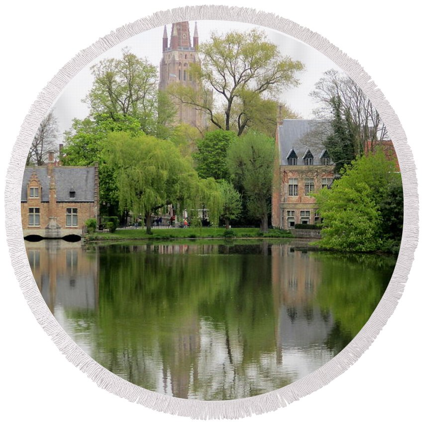 Bruges Round Beach Towel featuring the photograph Bruges Minnewater 3 by Randall Weidner