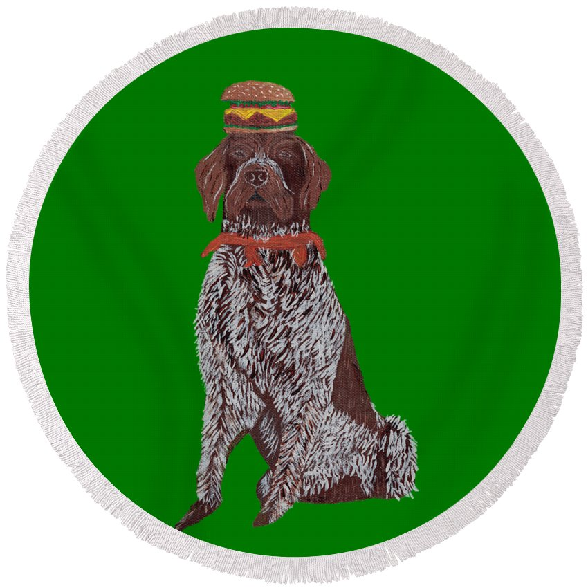 Dog Round Beach Towel featuring the painting Bruno - Hamburger by Nick Nestle