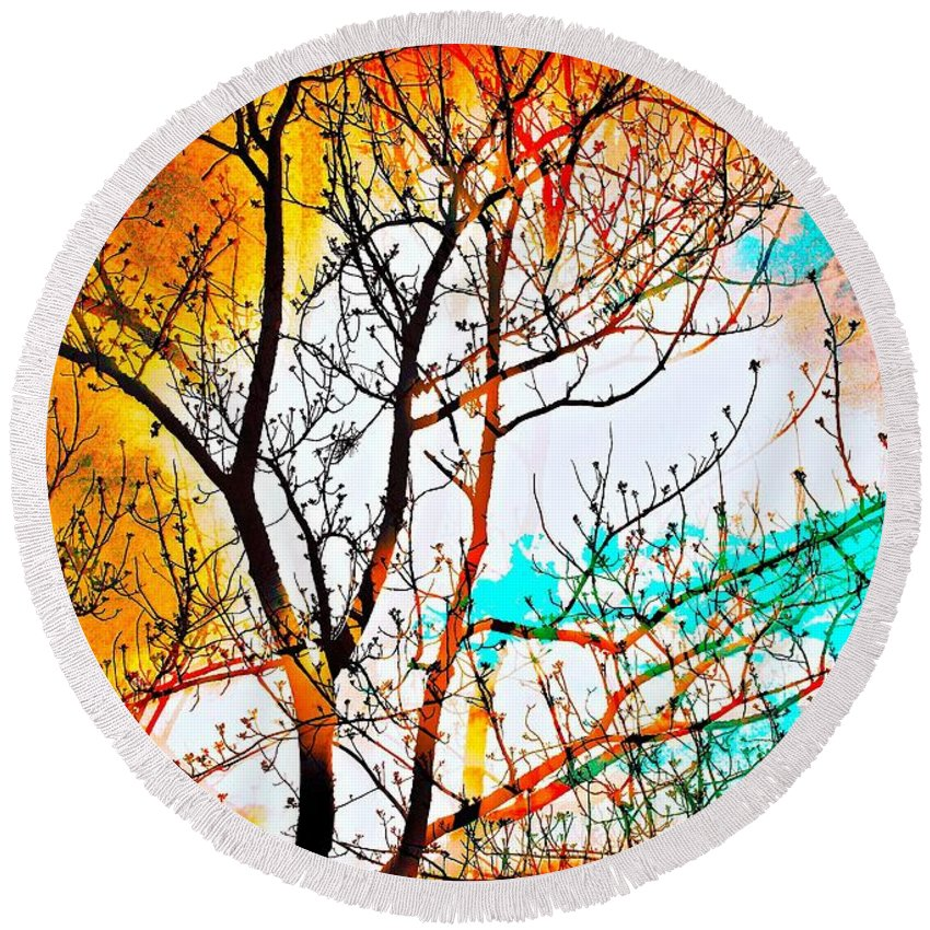 Abstract Round Beach Towel featuring the photograph Brushfire by David Coleman
