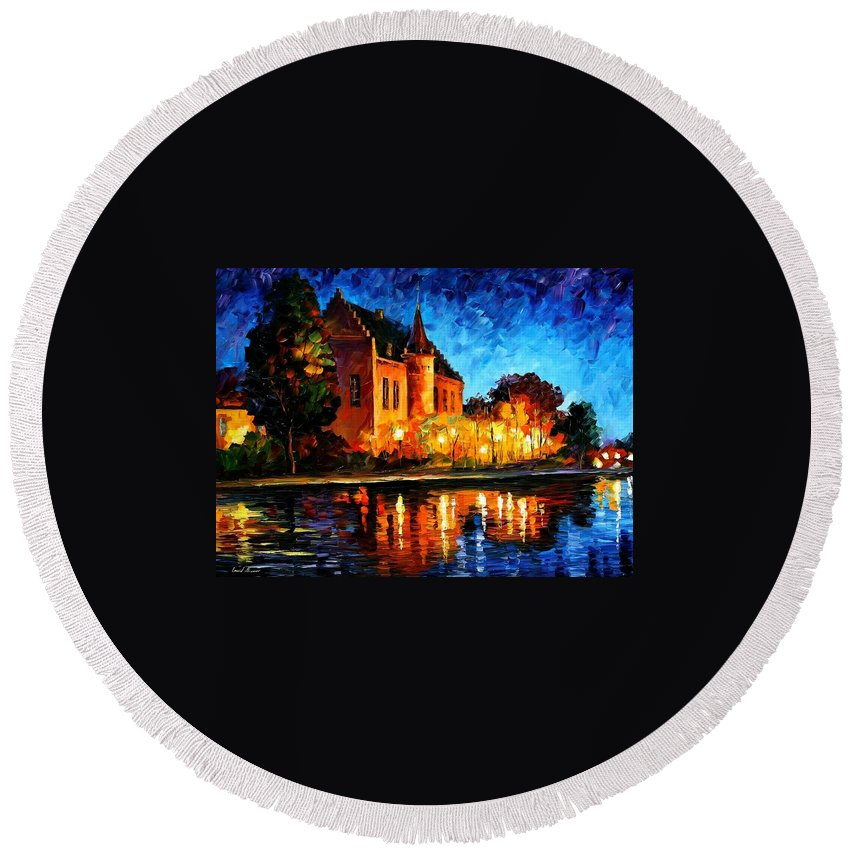 Afremov Round Beach Towel featuring the painting Brussels - Castle Saventem by Leonid Afremov