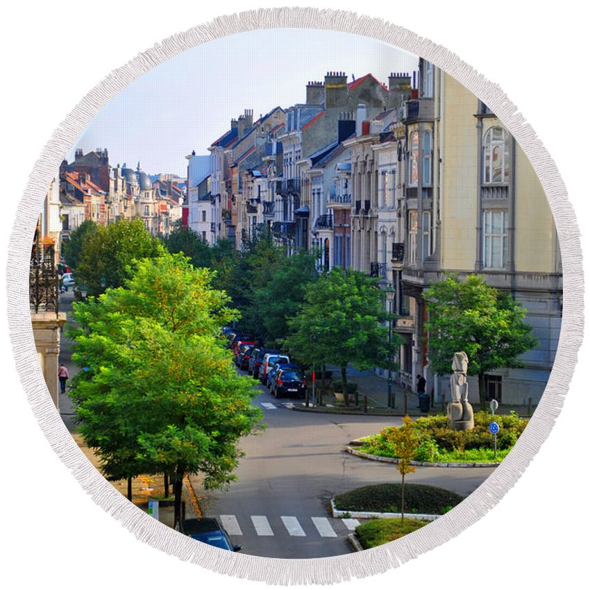 Brussels Round Beach Towel featuring the photograph Brussels Row by Jost Houk