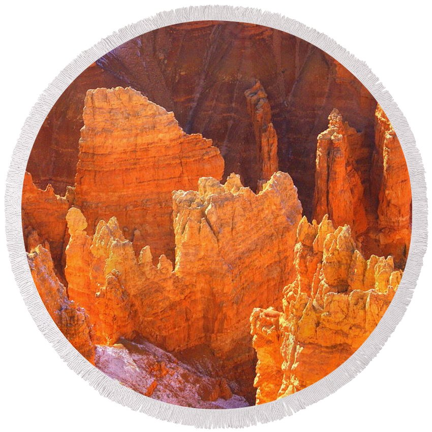 Bryce Canyon National Park Round Beach Towel featuring the photograph Bryce Ablaze by Marty Koch