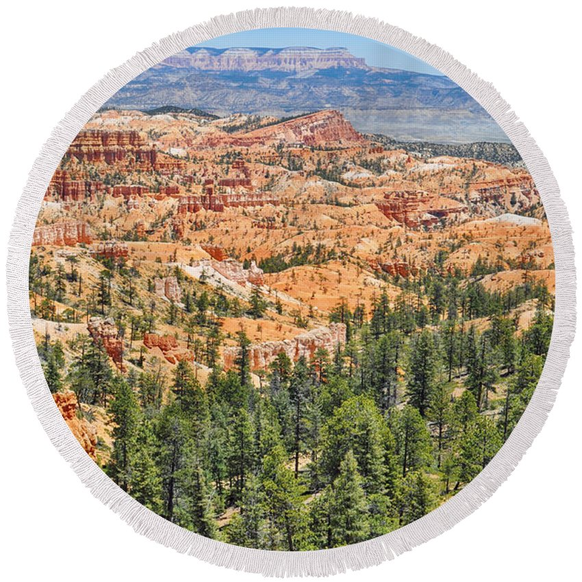 Bryce Canyon National Park Round Beach Towel featuring the photograph Bryce Canyon Fairyland Vista Point by Kyle Hanson