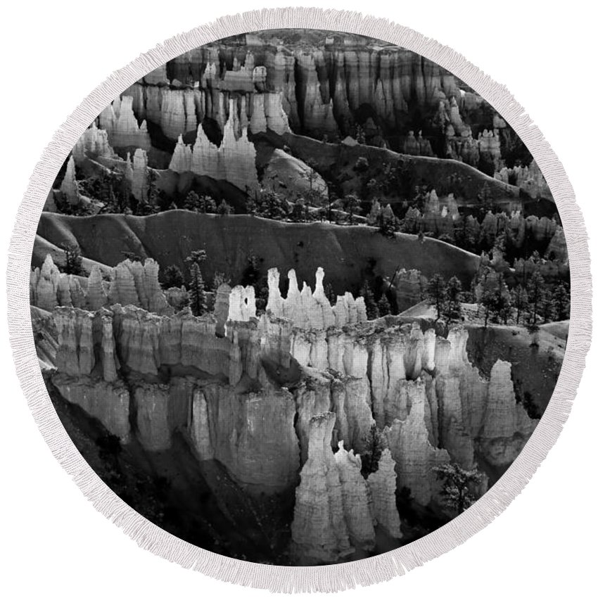 Bryce Canyon Round Beach Towel featuring the photograph Bryce Canyon In Black And White by James BO Insogna