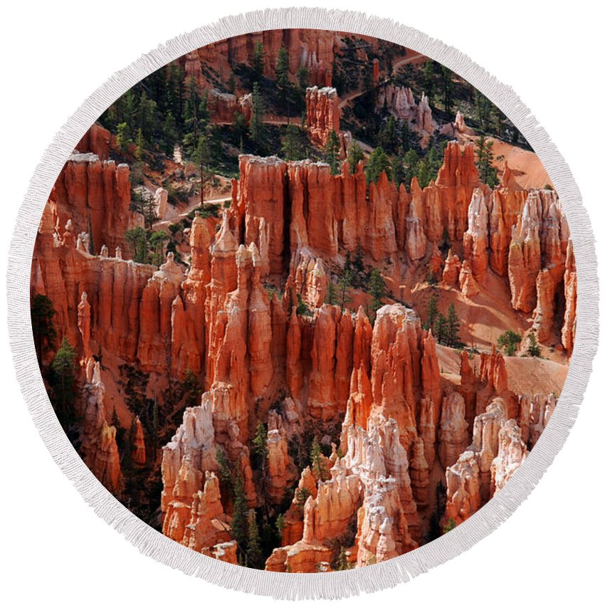 Bryce Canyon Round Beach Towel featuring the photograph Bryce Canyon In Utah by Susanne Van Hulst