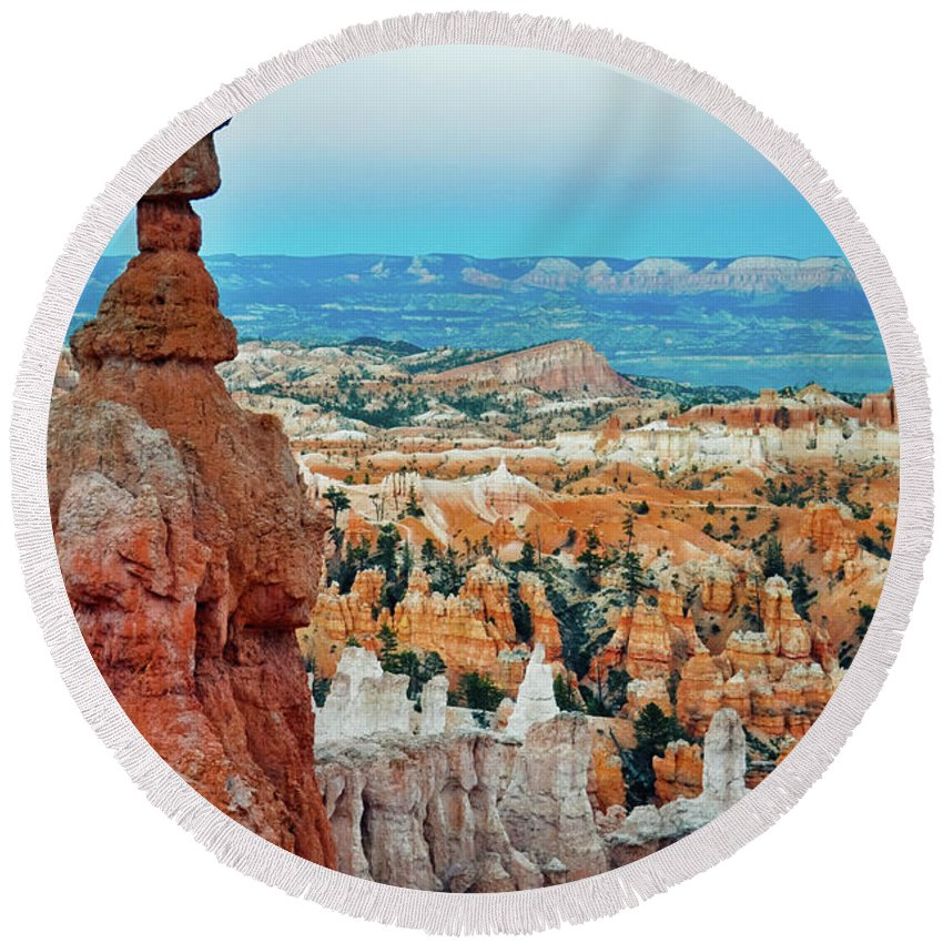 Bryce Canyon National Park Round Beach Towel featuring the photograph Bryce Canyon Thors Hammer by Kyle Hanson