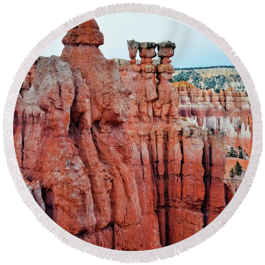 Bryce Canyon National Park Round Beach Towel featuring the photograph Bryce Canyon Thors Hammer Portrait by Kyle Hanson