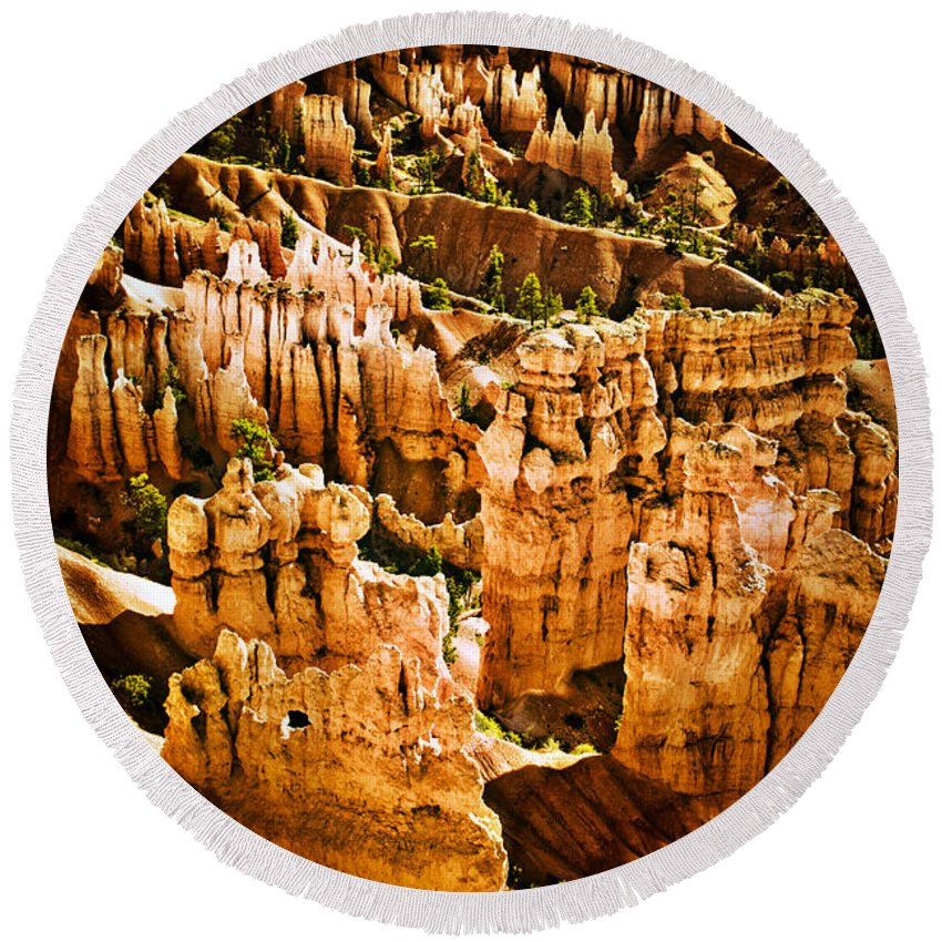 Bryce Canyon Round Beach Towel featuring the photograph Bryce Canyon Vertical Image by James BO Insogna