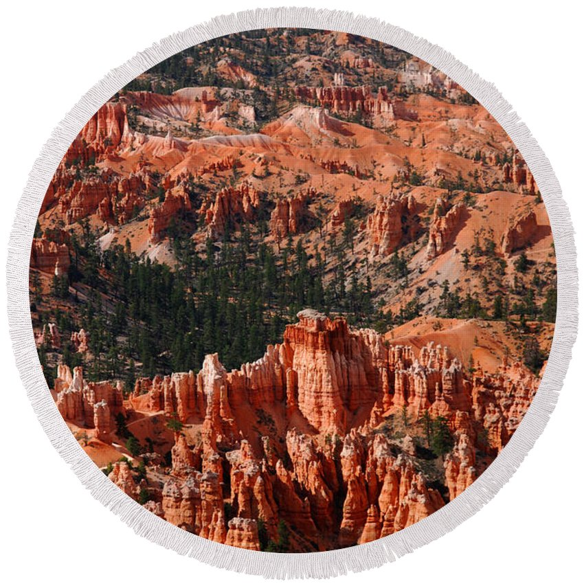 Photography Round Beach Towel featuring the photograph Bryce Canyon Vertical by Susanne Van Hulst