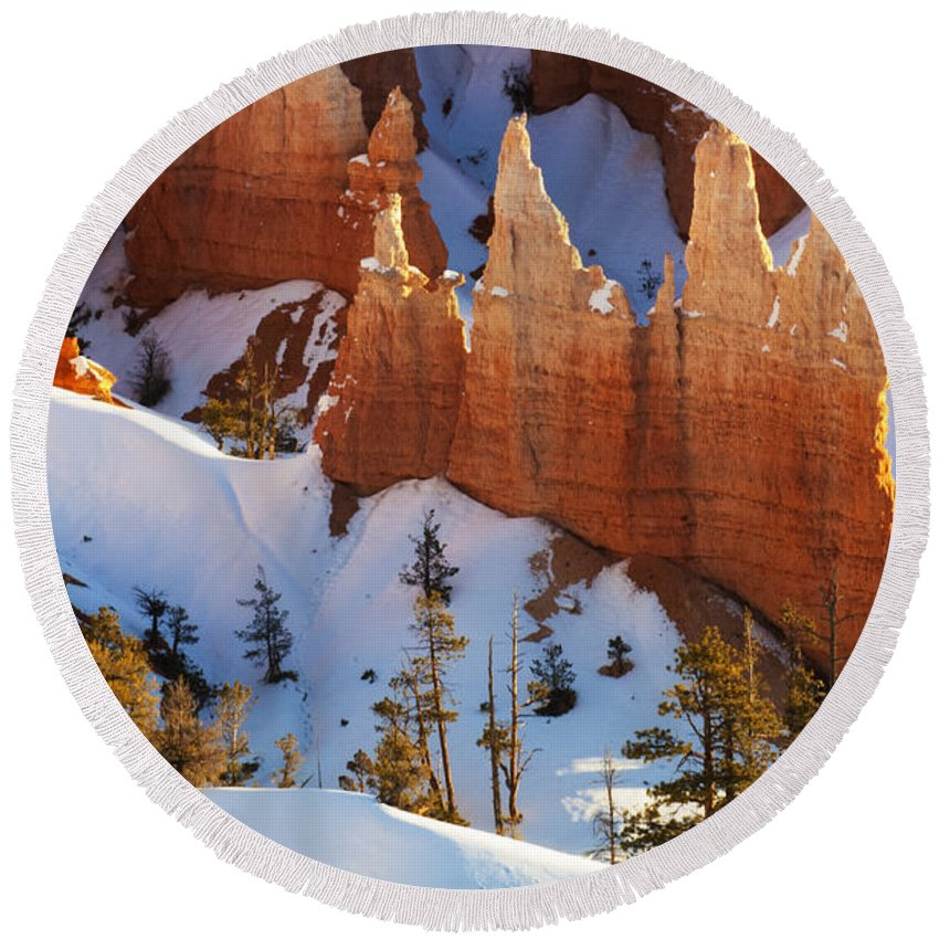 Bryce Round Beach Towel featuring the photograph Bryce Canyon Winter 3 by Bob Christopher