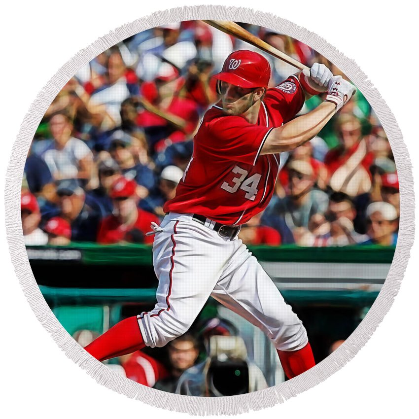 Bryce Harper Round Beach Towel featuring the mixed media Bryce Harper Washington Nationals by Marvin Blaine