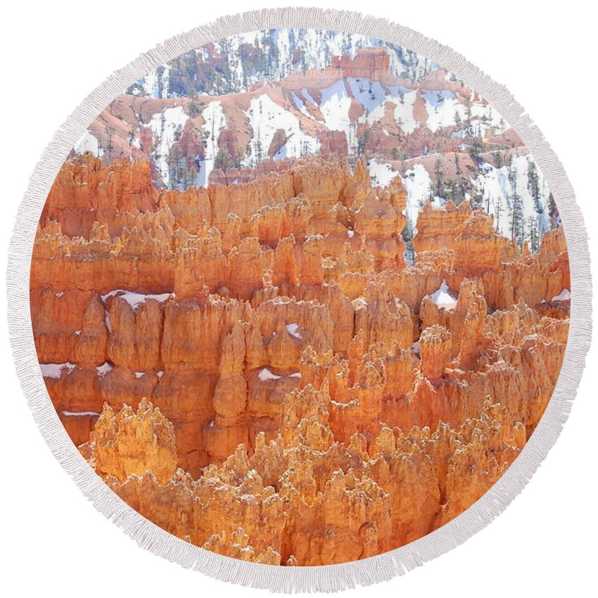 Bryce National Park Round Beach Towel featuring the photograph Bryce National Park by Carin Tillinghast