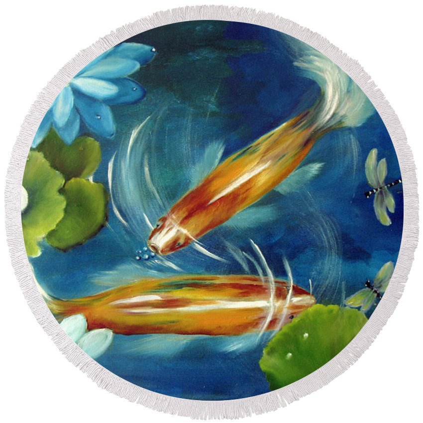 Koi Round Beach Towel featuring the painting Bubble Maker by Carol Sweetwood