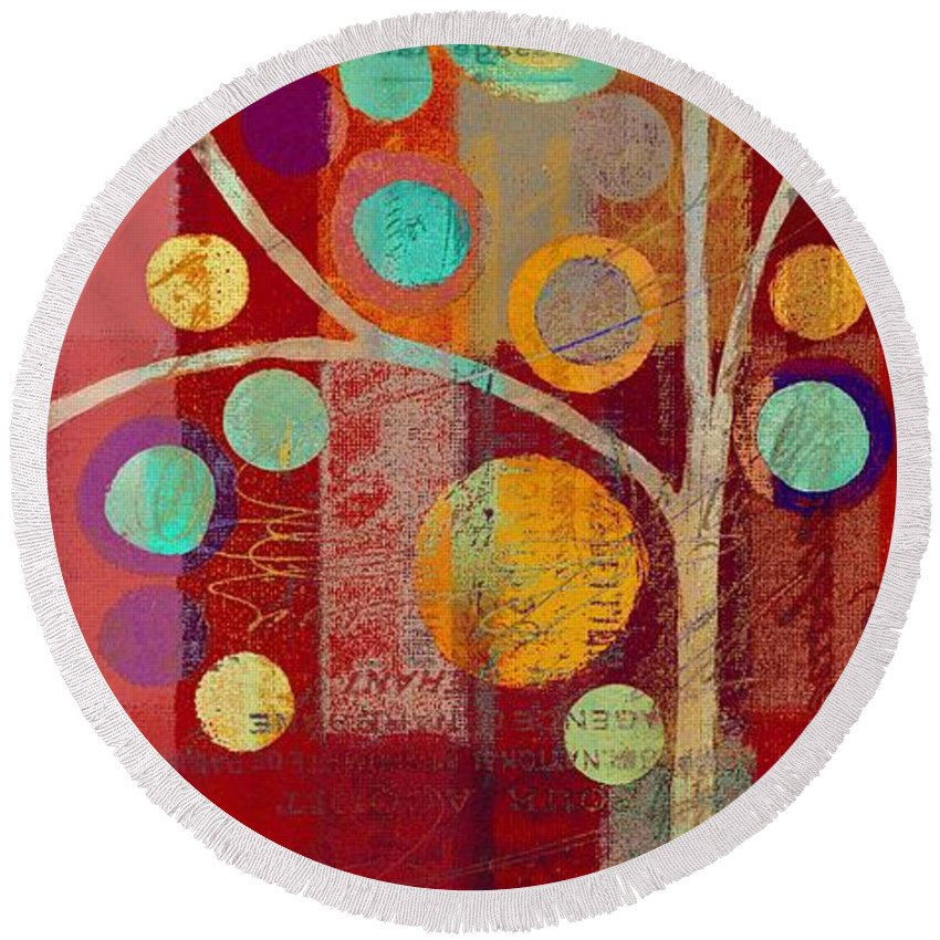 ubble Tree Round Beach Towel featuring the painting Bubble Tree - 85lc13-j678888 by Variance Collections