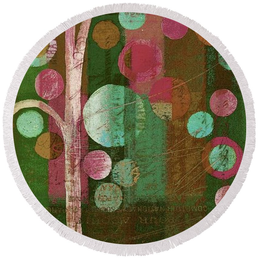 bubble Tree Round Beach Towel featuring the painting Bubble Tree - 85rc16-j678888 by Variance Collections