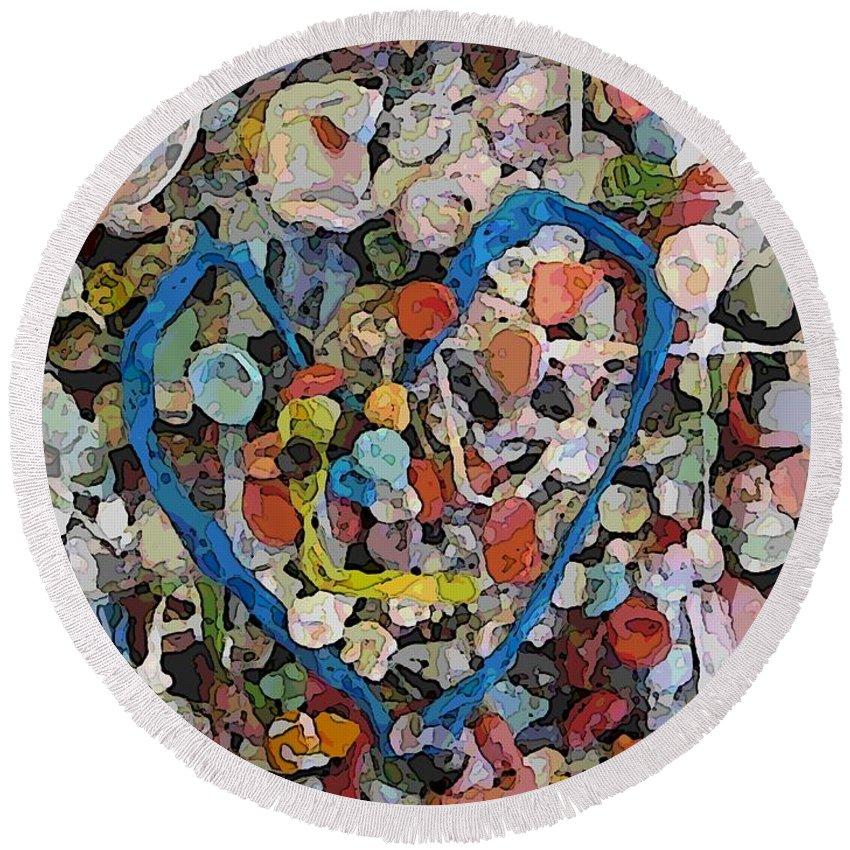 Bubblegum Round Beach Towel featuring the digital art Bubblegum Love by Tim Allen