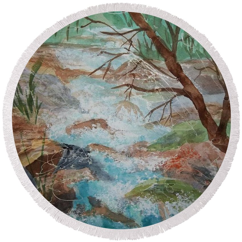 Waterfall Round Beach Towel featuring the painting Bubbling Falls by Ellen Levinson