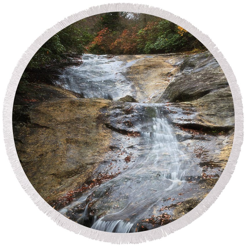 Creek Round Beach Towel featuring the photograph Bubbling Spring Branch Cascades by Jill Lang