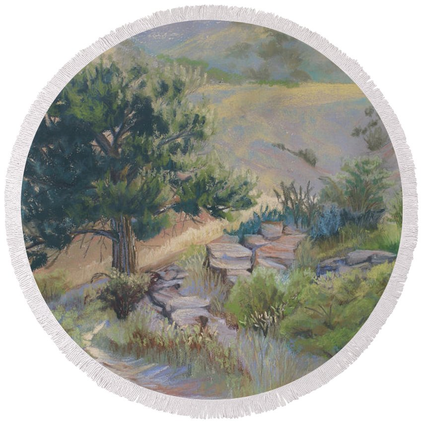 Pine Tree Round Beach Towel featuring the painting Buckhorn Canyon by Heather Coen