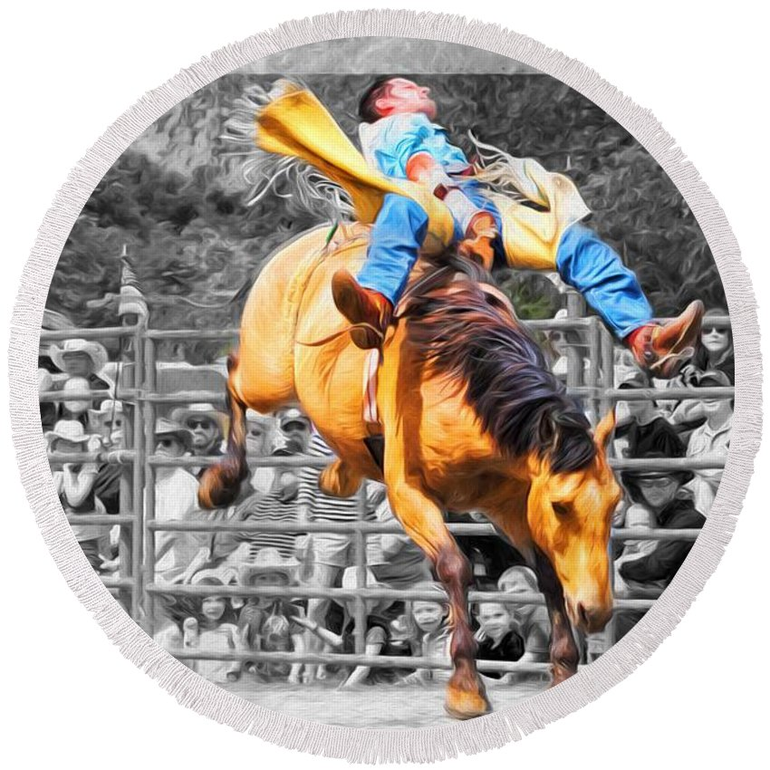 Rodeo Round Beach Towel featuring the photograph Buckingout by Alice Gipson