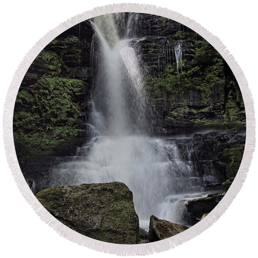 Bucks Falls Round Beach Towel featuring the photograph Bucks Falls Pa by Joseph Hollweg
