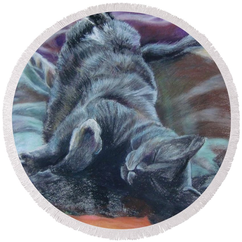 Cat Animals Drawing Round Beach Towel featuring the drawing Bud by Jean Stark