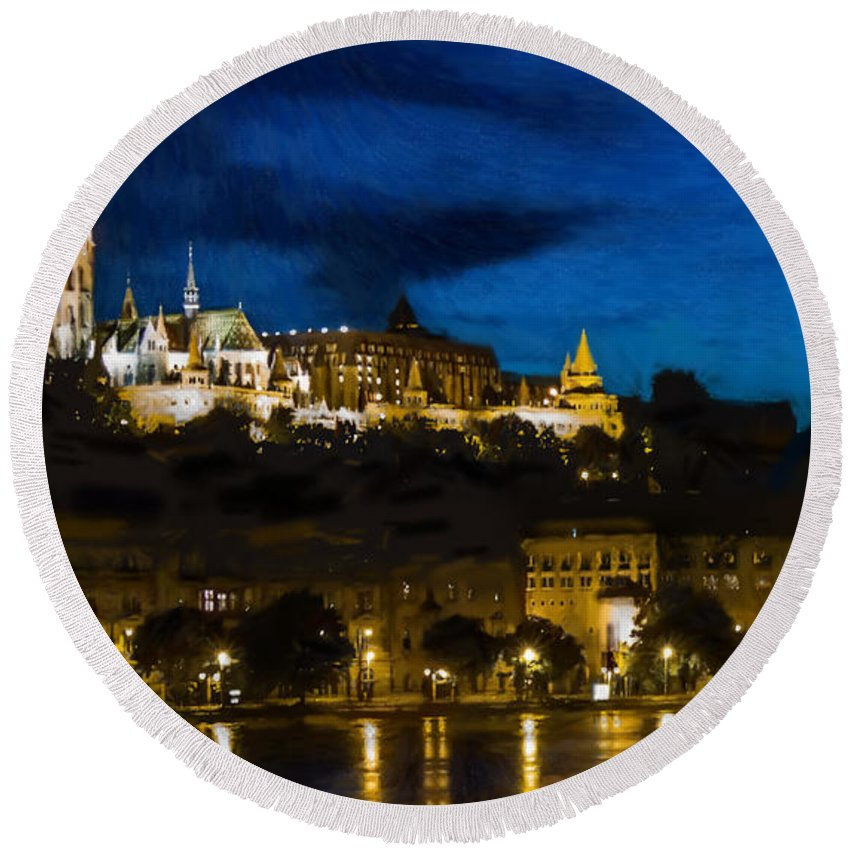 River Round Beach Towel featuring the painting Budapest - Id 16236-104947-3830 by S Lurk