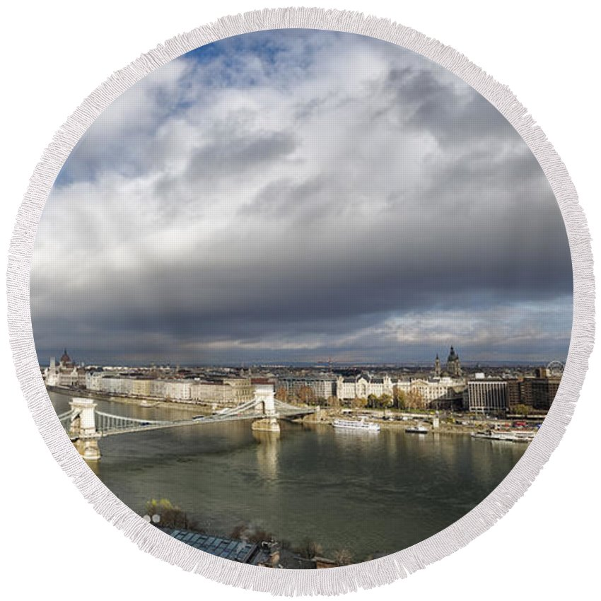 Joan Carroll Round Beach Towel featuring the photograph Budapest Panorama by Joan Carroll
