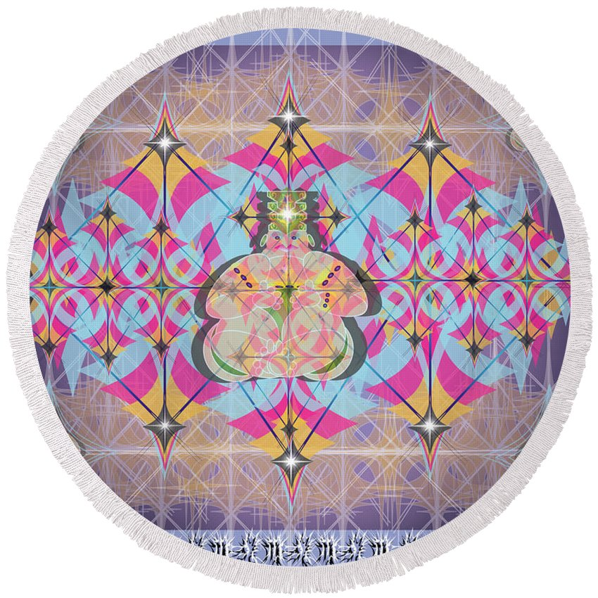 Abstract Round Beach Towel featuring the digital art Buddah II by George Pasini