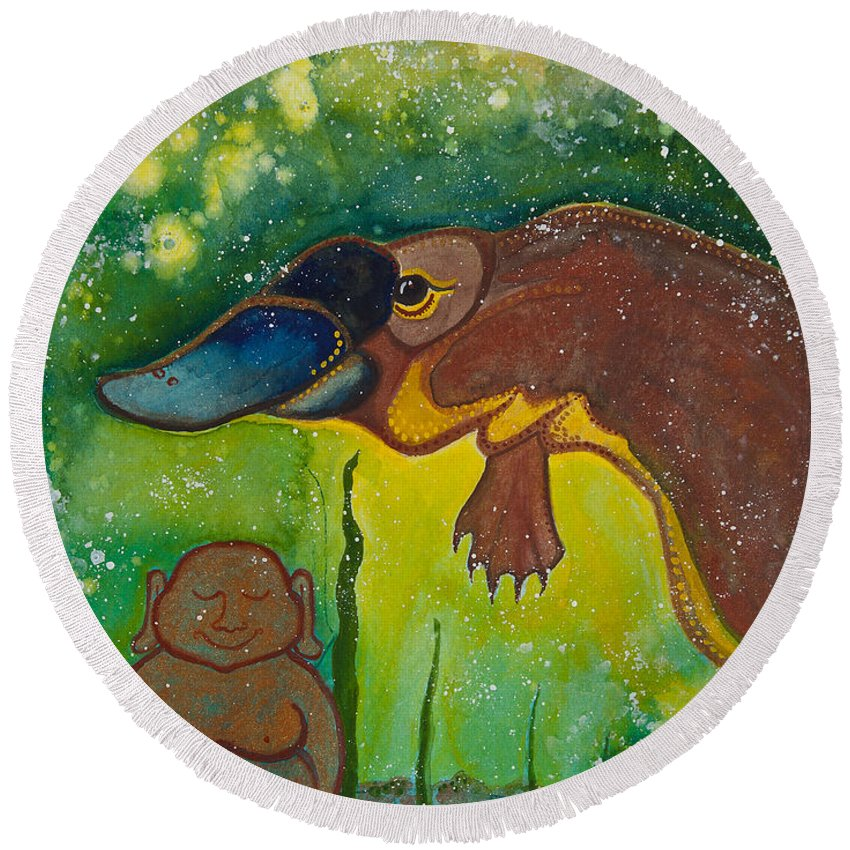 Illsa Millermoon Round Beach Towel featuring the painting Buddha And The Divine Platypus No. 1375 by Ilisa Millermoon