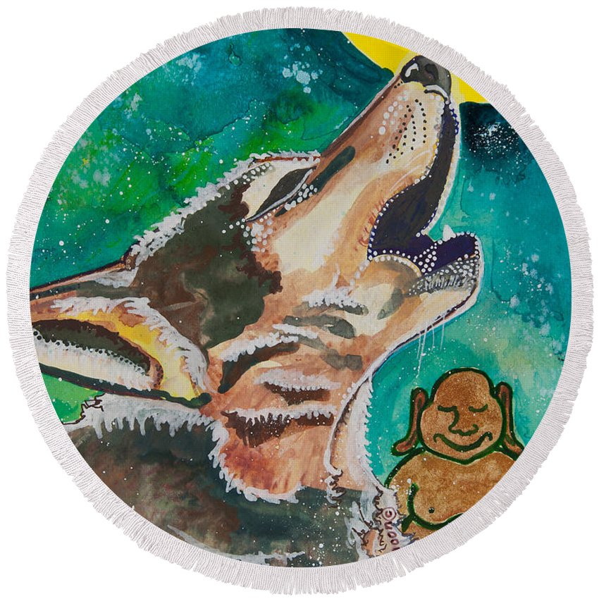 Illsa Millermoon Round Beach Towel featuring the painting Buddha And The Divine Wolf No. 1370 by Ilisa Millermoon