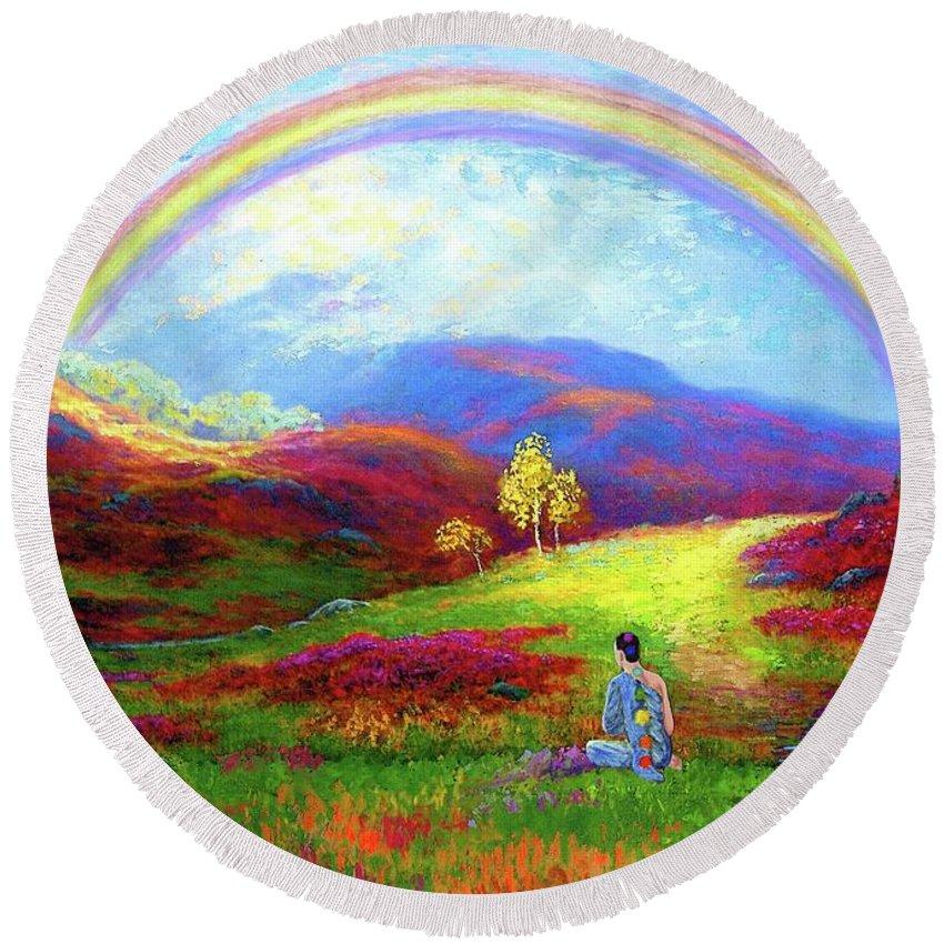 Meditation Round Beach Towel featuring the painting Buddha Chakra Rainbow Meditation by Jane Small