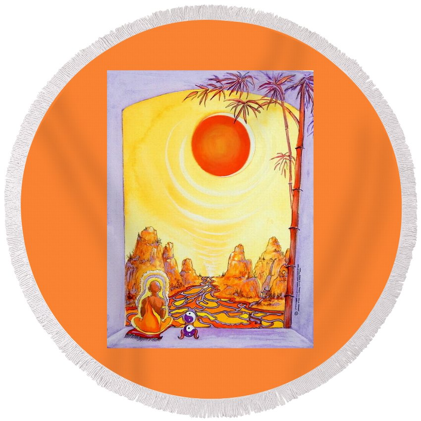 Buddha Meditation Round Beach Towel featuring the painting Buddha Meditation by Caroline Patrick
