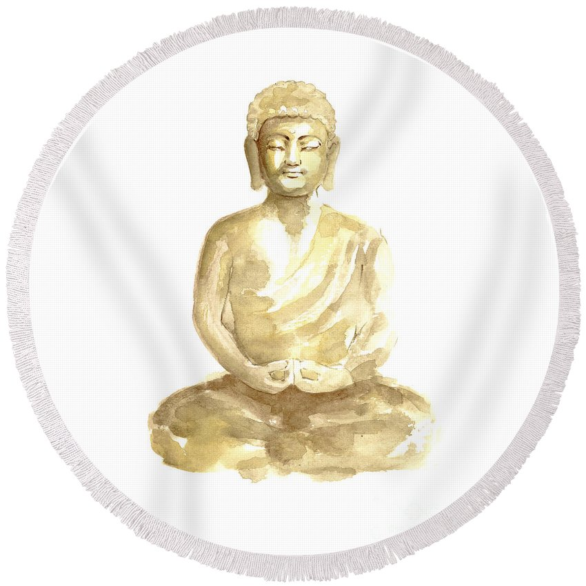 Buddhism Round Beach Towels