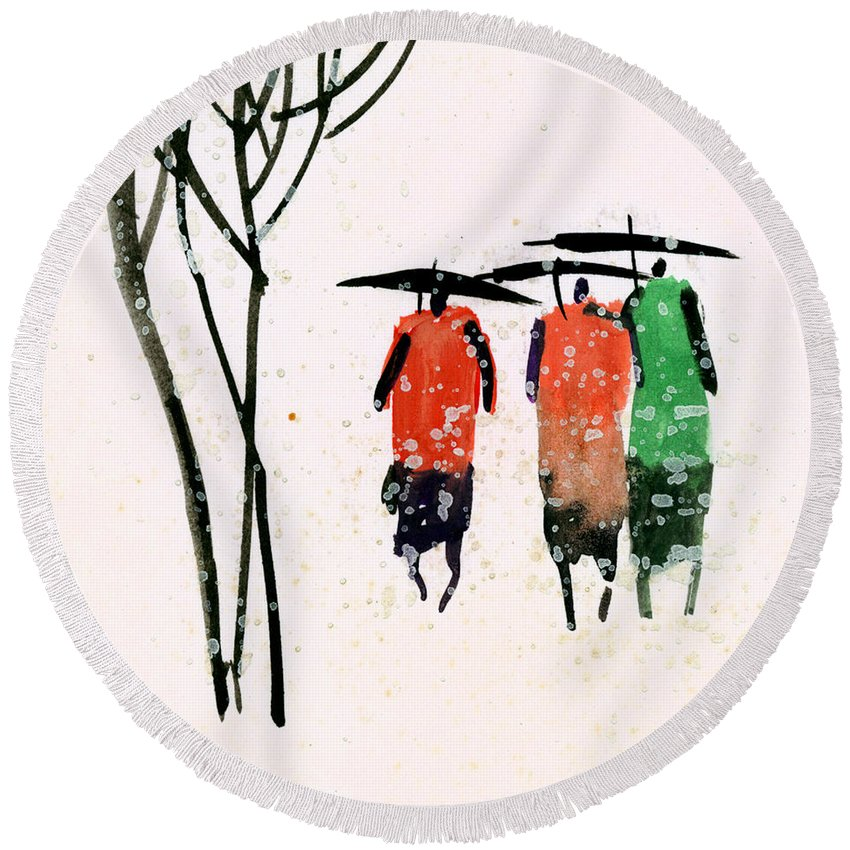 People Round Beach Towel featuring the painting Buddies 3 by Anil Nene