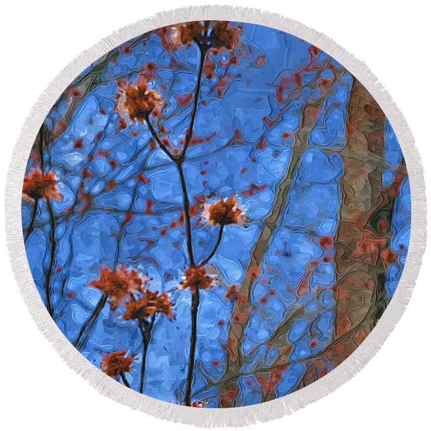 Blue Round Beach Towel featuring the photograph Budding Maples by Tom Reynen