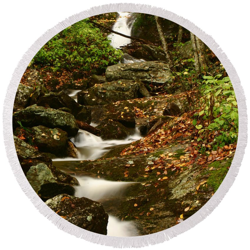 Water Round Beach Towel featuring the photograph Buff Creek Falls by Shari Jardina